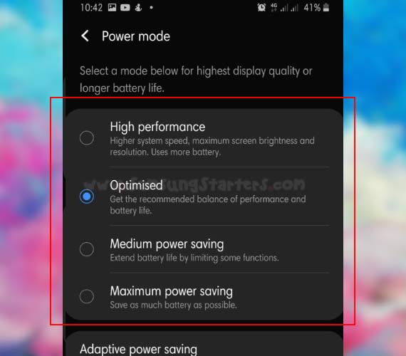 Power Mode Samsung