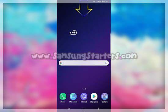 Geser Kebawah dari bar Notifikasi Hp Samsung
