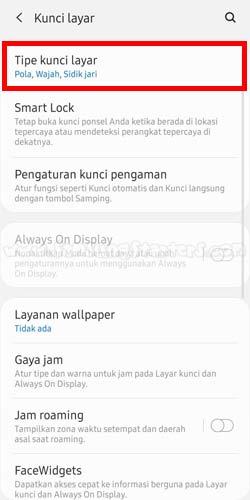 Tipe Kunci Layar Hp Samsung